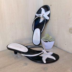COACH Black & White Starfish kitten heel sandal